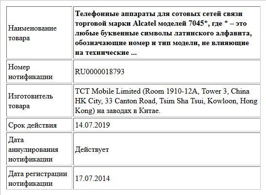Телефонные аппараты для сотовых сетей связи торговой марки Alcatel моделей 7045*,  где * – это любые буквенные символы латинского алфавита, обозначающие номер и тип модели, не влияющие на технические ...