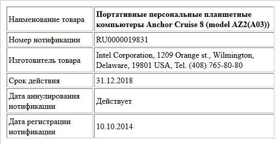 Портативные персональные планшетные компьютеры  Anchor Cruise 8 (model AZ2(A03))