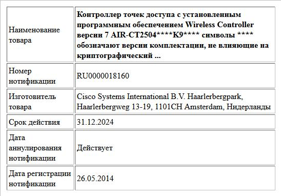 Контроллер точек доступа с установленным программным обеспечением Wireless Controller  версии 7 AIR-CT2504****K9**** символы **** обозначают версии комплектации, не влияющие на криптографический  ...