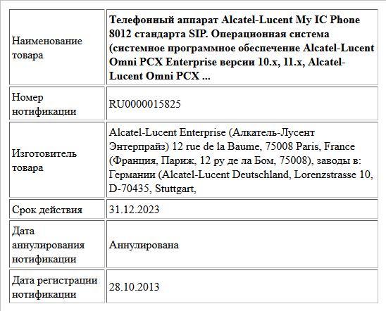 Телефонный аппарат Alcatel-Lucent My IC Phone 8012 стандарта SIP. Операционная система (системное программное обеспечение Alcatel-Lucent Omni PCX Enterprise версии 10.х, 11.х, Alcatel-Lucent Omni PCX ...