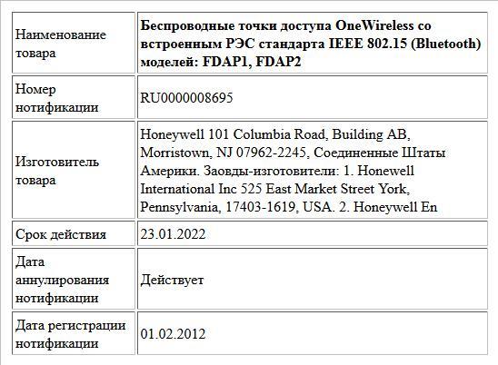 Беспроводные точки доступа OneWireless со встроенным РЭС стандарта IEEE 802.15 (Bluetooth) моделей: FDAP1, FDAP2