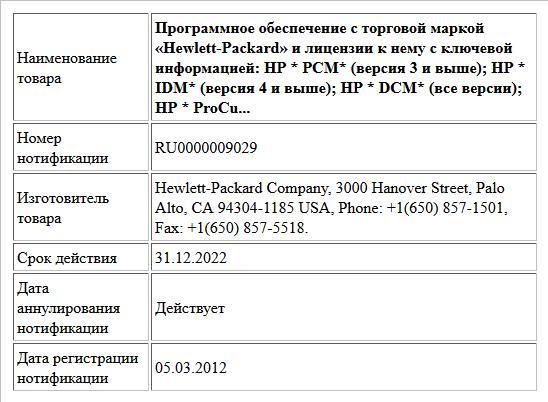 Программное обеспечение с торговой маркой «Hewlett-Packard» и лицензии к нему с ключевой информацией:  HP * PCM* (версия 3 и выше); НР * IDM* (версия 4 и выше); НР * DСM* (все версии); HP * ProCu...