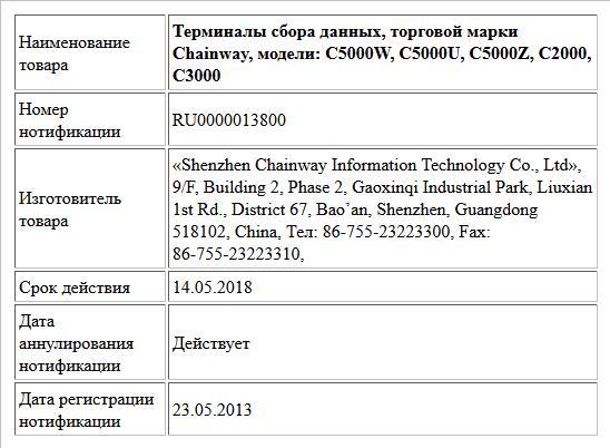 Терминалы сбора данных, торговой марки Chainway, модели: С5000W, С5000U, С5000Z, C2000, C3000