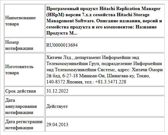 Программный продукт Hitachi Replication Manager (HRpM) версия 7.x.x семейства Hitachi Storage Management Software. Описание названия, версий и семейства продукта и его компонентов: Название Продукта М...