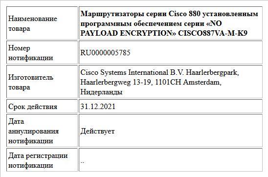 Маршрутизаторы серии Cisco 880 установленным программным обеспечением серии «NO PAYLOAD ENCRYPTION» CISCO887VA-M-K9
