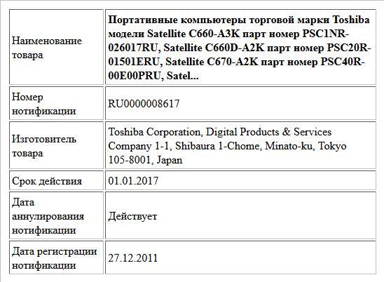 Портативные компьютеры торговой марки Toshiba модели Satellite C660-A3K парт номер PSC1NR-026017RU, Satellite C660D-A2K парт номер PSC20R-01501ERU, Satellite C670-A2K парт номер PSC40R-00E00PRU, Satel...