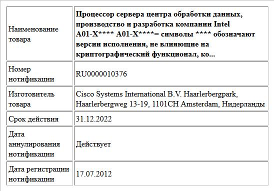 Процессор сервера центра обработки  данных, производство и разработка компании Intel A01-X**** A01-X****= символы **** обозначают версии исполнения, не влияющие на криптографический функционал, ко...