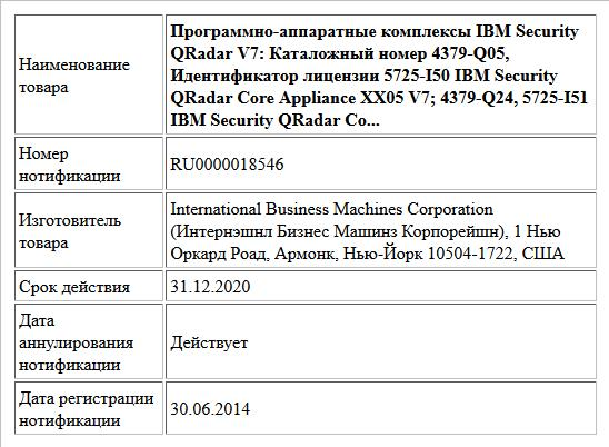Программно-аппаратные комплексы IBM Security QRadar V7: Каталожный номер 4379-Q05, Идентификатор лицензии 5725-I50 IBM Security QRadar Core Appliance XX05 V7; 4379-Q24, 5725-I51 IBM Security QRadar Co...