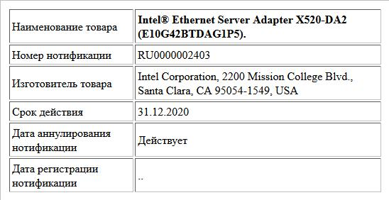 Intel® Ethernet Server Adapter X520-DA2 (E10G42BTDAG1P5).