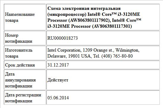Схема электронная интегральная (микропроцессор) Intel® Core™ i3-3120ME Processor (AW8063801117902), Intel® Core™ i3-3120ME Processor (AV8063801117301)