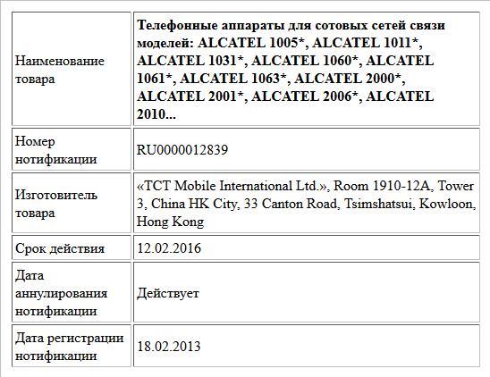 Телефонные аппараты для сотовых сетей связи моделей: ALCATEL 1005*, ALCATEL 1011*, ALCATEL 1031*, ALCATEL 1060*, ALCATEL 1061*, ALCATEL 1063*, ALCATEL 2000*, ALCATEL 2001*, ALCATEL 2006*, ALCATEL 2010...