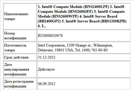 1.  Intel® Compute Module (HNS2400LPF) 2.  Intel® Compute Module (HNS2600JFF) 3.  Intel® Compute Module (HNS2600WPF) 4.  Intel® Server Board (BB2400GP2) 5.  Intel® Server Board (BBS1200KPR) 6.  I...