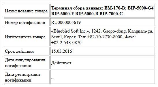 Терминал сбора данных: BM-170-B; BIP-5000-G4 BIP-6000-F BIP-6000-B BIP-7000-C