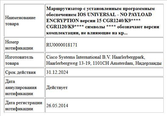 Маршрутизатор с установленным программным обеспечением IOS UNIVERSAL - NO PAYLOAD ENCRYPTION версии 15  CGR1240/K9**** CGR1120/K9**** символы **** обозначают версии комплектации, не влияющие на кр...