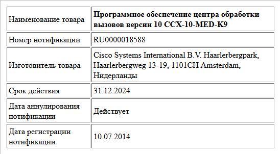 Программное обеспечение центра обработки вызовов версии 10 CCX-10-MED-K9