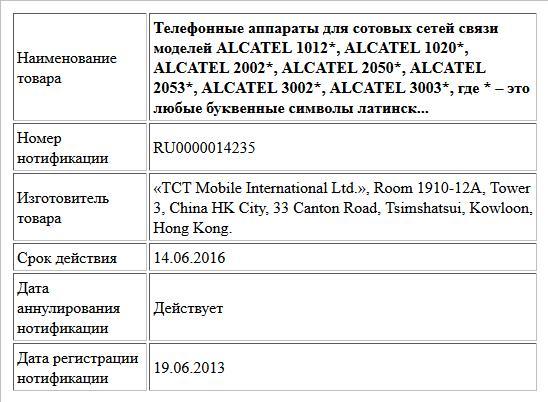 Телефонные аппараты для сотовых сетей связи моделей ALCATEL 1012*, ALCATEL 1020*, ALCATEL 2002*, ALCATEL 2050*, ALCATEL 2053*, ALCATEL 3002*, ALCATEL 3003*, где * – это любые буквенные символы латинск...