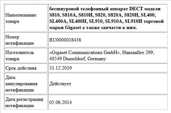 бесшнуровой телефонный аппарат DECT модели S810, S810A, S810H, S820, S820A, S820H, SL400, SL400A, SL400H, SL910, SL910A, SL910H торговой марки Gigaset  а также запчасти к ним.