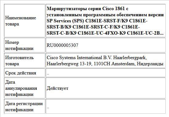 Маршрутизаторы серии Cisco 1861 с установленным программным обеспечением версии SP Services (SPS) C1861E-SRST-F/K9 C1861E-SRST-B/K9 C1861E-SRST-C-F/K9 C1861E-SRST-C-B/K9 C1861E-UC-4FXO-K9 C1861E-UC-2B...