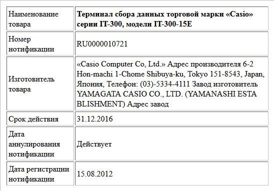 Терминал сбора данных торговой марки «Casio» серии IT-300, модели IT-300-15E