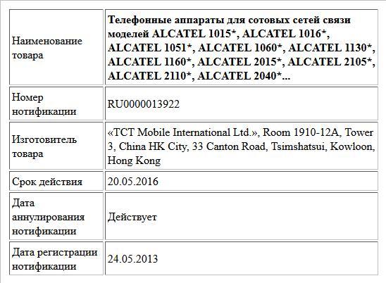 Телефонные аппараты для сотовых сетей связи моделей ALCATEL 1015*, ALCATEL 1016*, ALCATEL 1051*, ALCATEL 1060*, ALCATEL 1130*, ALCATEL 1160*, ALCATEL 2015*, ALCATEL 2105*, ALCATEL 2110*, ALCATEL 2040*...