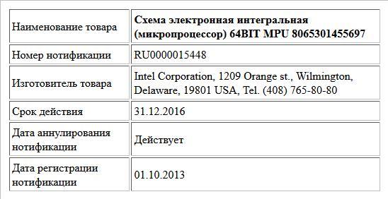 Схема электронная интегральная (микропроцессор) 64BIT MPU 8065301455697