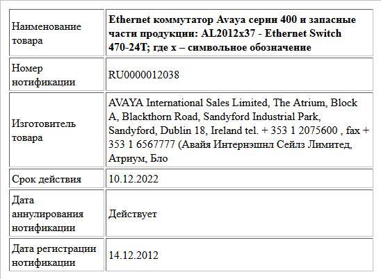 Ethernet коммутатор Avaya серии 400 и запасные части продукции:  AL2012х37 -  Ethernet Switch 470-24T; где x – символьное обозначение