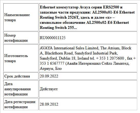 Ethernet коммутатор Avaya серии ERS2500 и запасные части продукции:  AL2500x01-E6 Ethernet Routing Switch 2526T, здесь и далее «x» – символьное обозначение  AL2500x02-E6 Ethernet Routing Switch 255...