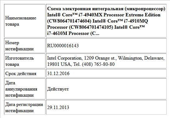 Схема электронная интегральная (микропроцессор) Intel® Core™ i7-4940MX Processor Extreme Edition (CW8064701474604) Intel® Core™ i7-4910MQ Processor (CW8064701474105) Intel® Core™ i7-4610M Processor (C...