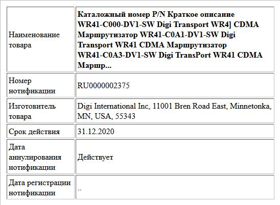 Каталожный номер P/N Краткое описание WR41-C000-DV1-SW Digi Transport WR4] CDMA Маршрутизатор WR41-C0A1-DV1-SW Digi Transport WR41 CDMA Маршрутизатор WR41-C0A3-DV1-SW Digi TransPort WR41 CDMA Маршр...