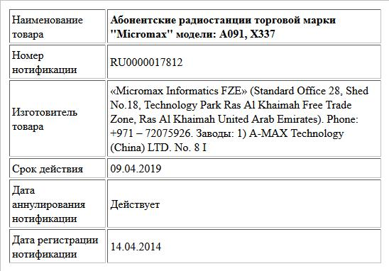 Абонентские радиостанции торговой марки ''Micromax'' модели: A091, X337