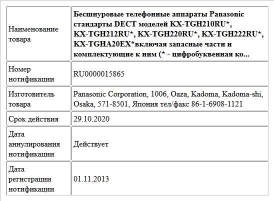 Бесшнуровые телефонные аппараты Panasonic стандарты DECT моделей KX-TGH210RU*, KX-TGH212RU*, KX-TGH220RU*, KX-TGH222RU*, KX-TGHA20EX*включая запасные части и комплектующие к ним (* - цифробуквенная ко...