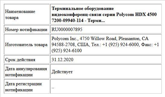 Терминальное оборудование видеоконференц-связи серии Polycom HDX 4500                                                                                                            7200-09940-114 - Терми...