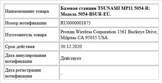 Базовая станция TSUNAMI MP11 5054-R: Модель 5054-BSUR-EU.