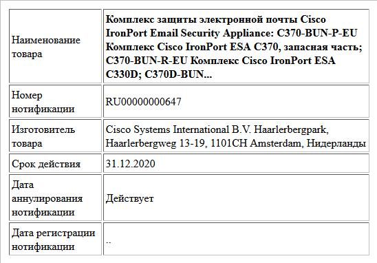 Комплекс защиты электронной почты Cisco IronPort Email Security Appliance: C370-BUN-P-EU Комплекс Cisco IronPort ESA C370, запасная часть; C370-BUN-R-EU Комплекс Cisco IronPort ESA C330D; C370D-BUN...