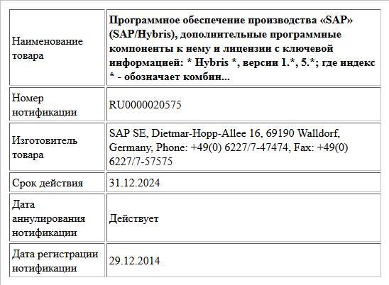 Программное обеспечение производства «SAP» (SAP/Hybris), дополнительные программные компоненты к нему и лицензии с ключевой информацией: * Hybris *, версии 1.*, 5.*; где индекс * - обозначает комбин...