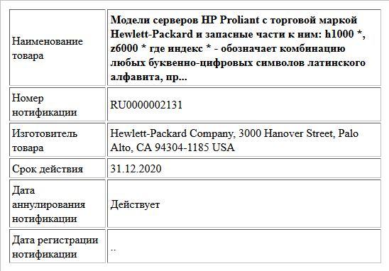 Модели серверов HP Proliant с торговой маркой Hewlett-Packard и запасные части к ним: h1000 *, z6000 * где индекс  * -  обозначает комбинацию любых буквенно-цифровых символов латинского алфавита, пр...