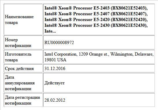 Intel® Xeon® Processor E5-2403 (BX80621E52403), Intel® Xeon® Processor E5-2407 (BX80621E52407), Intel® Xeon® Processor E5-2420 (BX80621E52420), Intel® Xeon® Processor E5-2430 (BX80621E52430), Inte...
