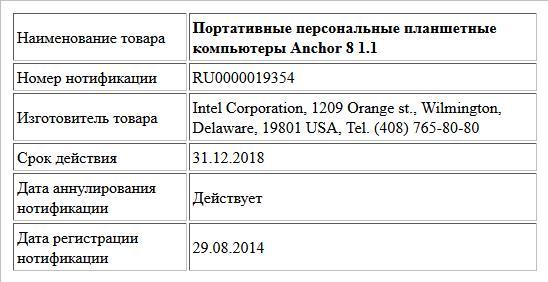 Портативные персональные планшетные компьютеры  Anchor 8 1.1