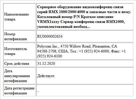 Серверное оборудование видеоконференц-связи серий RMX 1000/2000/4000 и запасные части к нему. Каталожный номер P/N Краткое описание VRMX1xxxy Сервер конференц-связи RMX1000, укомплектованный необход...