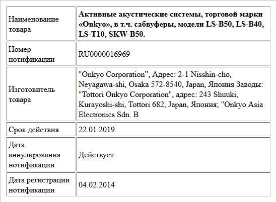 Активные акустические системы, торговой марки «Onkyo», в т.ч. сабвуферы, модели LS-B50, LS-B40, LS-T10, SKW-B50.