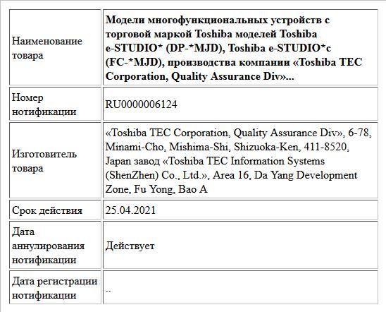 Модели многофункциональных устройств с торговой маркой Toshiba моделей Toshiba e-STUDIO* (DP-*MJD), Toshiba e-STUDIO*c (FC-*MJD), производства компании «Toshiba TEC Corporation, Quality Assurance Div»...
