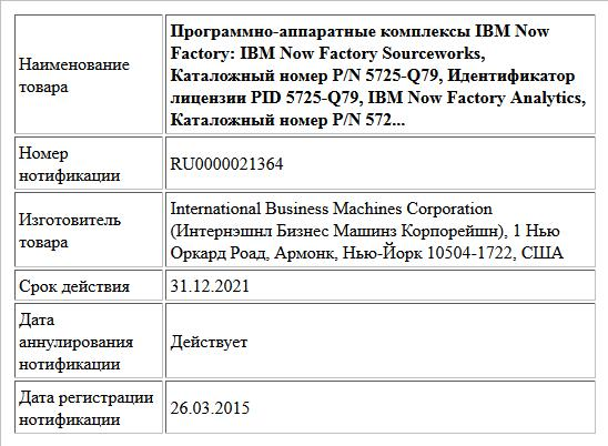 Программно-аппаратные комплексы IBM Now Factory:  IBM Now Factory Sourceworks, Каталожный номер P/N 5725-Q79, Идентификатор лицензии PID 5725-Q79, IBM Now Factory Analytics, Каталожный номер P/N 572...