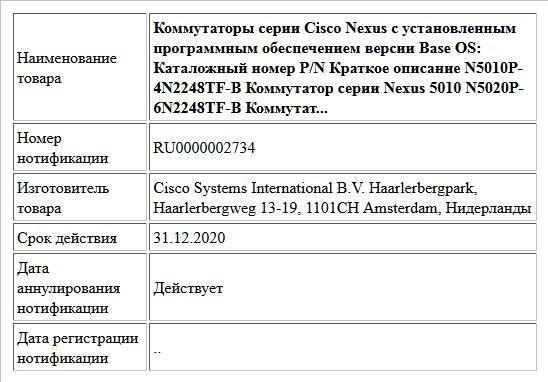Коммутаторы серии Cisco Nexus с установленным программным обеспечением версии Base OS: Каталожный номер P/N Краткое описание N5010P-4N2248TF-B Коммутатор серии Nexus 5010 N5020P-6N2248TF-B Коммутат...