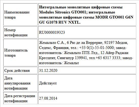 Интегральные монолитные цифровые схемы Modules Sitronics GTO001; интегральные монолитные цифровые схемы MODR GTO001 G6N GU G1078 RUV NXTL.