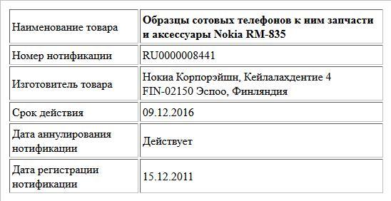Образцы сотовых телефонов к ним запчасти и аксессуары  Nokia RM-835