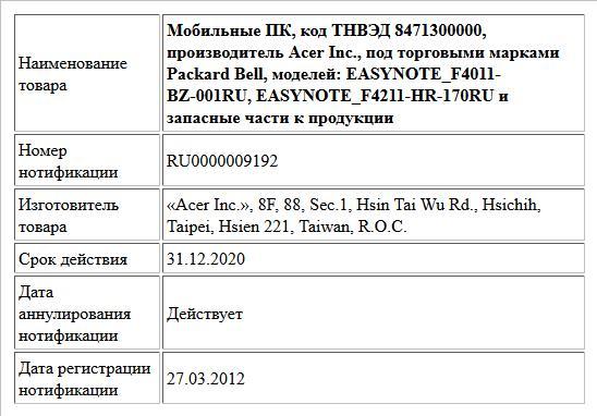 Мобильные ПК, код ТНВЭД 8471300000, производитель Acer Inc., под торговыми марками Packard Bell, моделей: EASYNOTE_F4011-BZ-001RU, EASYNOTE_F4211-HR-170RU и запасные части к продукции