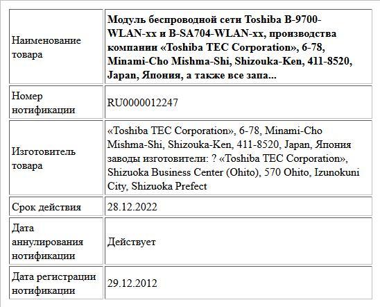 Модуль беспроводной сети Toshiba B-9700-WLAN-xx и B-SA704-WLAN-xx, производства компании «Toshiba TEC Corporation», 6-78, Minami-Cho Mishma-Shi, Shizouka-Ken, 411-8520, Japan, Япония, а также все запа...