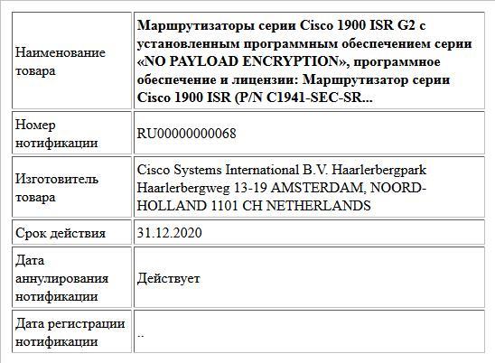 Маршрутизаторы серии Cisco 1900 ISR G2 с установленным программным обеспечением серии «NO PAYLOAD ENCRYPTION», программное обеспечение и лицензии: Маршрутизатор серии Cisco 1900 ISR (P/N C1941-SEC-SR...