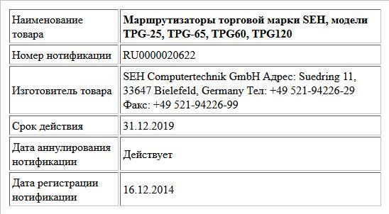 Маршрутизаторы торговой марки SEH, модели TPG-25, TPG-65, TPG60, TPG120