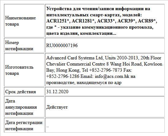 Устройства для чтения/записи информации на интеллектуальных смарт-картах, моделей: ACR1251*, ACR1281*, ACR33*, ACR39*, ACR89*, где * - указание коммуникационного протокола, цвета изделия, комплектации...